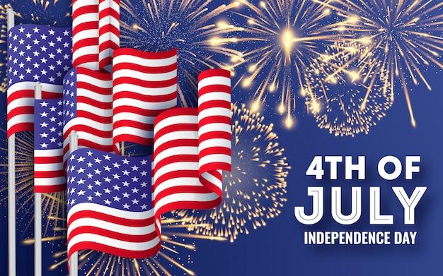 Grande bandiera con sventolando bandiere nazionali americane e fuochi d'artificio