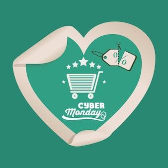 Grande bandiera di vendita di cyber monday con il carrello e la forma del cuore