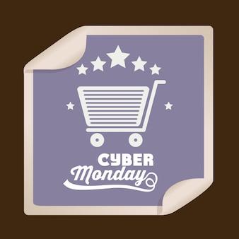 Grande bandiera di vendita di cyber monday