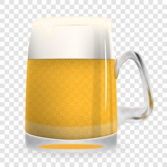 Grande bicchiere naturalistico di birra schiumosa leggera freddamente aromatizzata e saporita. isolato su bianco