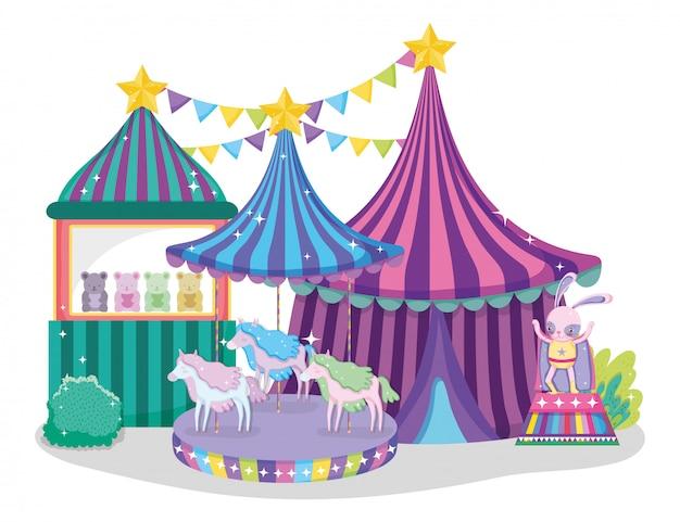 Grande circo con negozio di giocattoli e cavalli da giostra elettrici