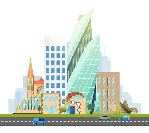Grande città con grattacieli e casette. autostrada con auto. vector piatta illustrazione