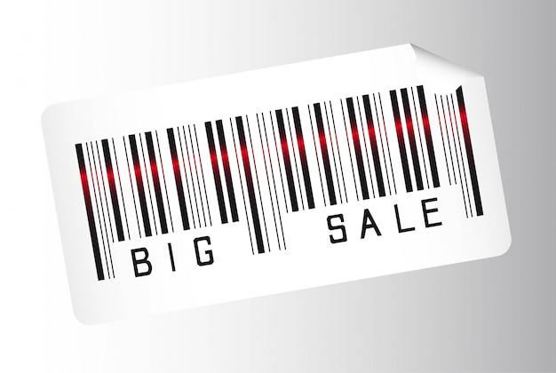 Grande codice a barre di vendita su sfondo grigio illustrazione vettoriale