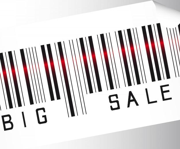 Grande codice a barre di vendita su sfondo grigio vettoriale da vicino