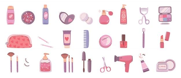 Grande collage di cosmetici e prodotti per la cura del corpo per il trucco. illustrazione moderna in stile piatto.