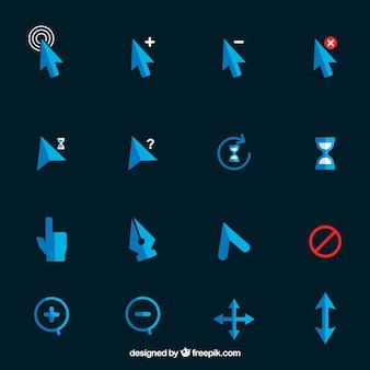 Grande collezione di cursori blu