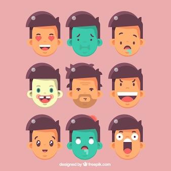 Grande collezione di emoticon fronte dell'uomo in design piatto