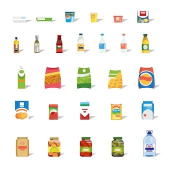 Grande collezione di icone di vettore piatto di cibo e bevande
