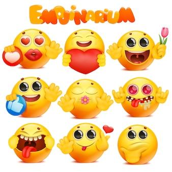 Grande collezione di personaggi di cartone animato giallo emoji faccia tonda