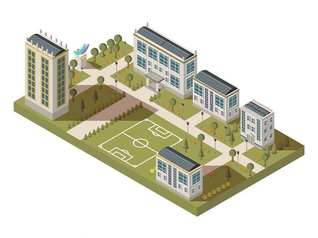 Grande composizione isometrica dell'università con le case dei vicoli dell'iarda del campus con le ombre e il playgro di calcio
