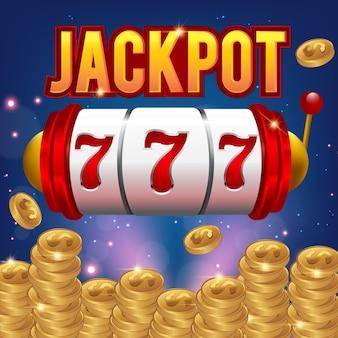 Grande concetto del casinò di vettore di lotteria della vittoria 777 con lo slot machine