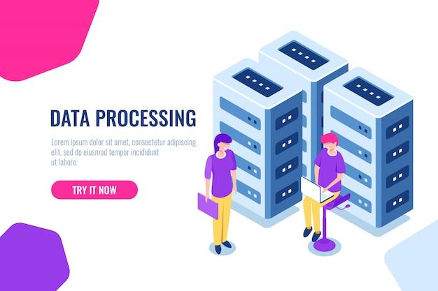 Grande concetto di data center, sicurezza del database cloud, ingegnere ragazza, hardware di manutenzione