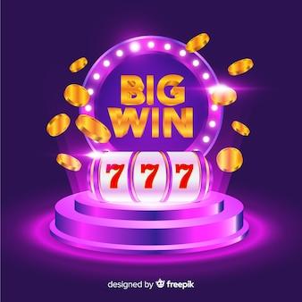 Grande concetto di slot vincente in stile realistico