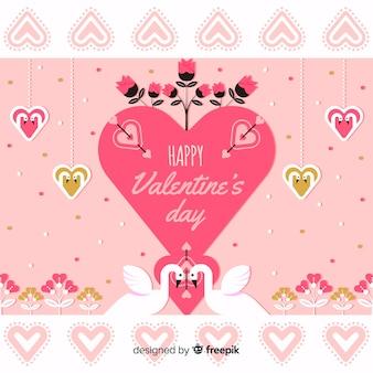 Grande cuore con cigni di san valentino sfondo