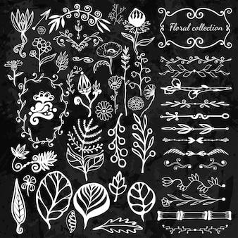 Grande disegno floreale disegnato a mano con fiori selvatici, foglie, turbinii, bordo.