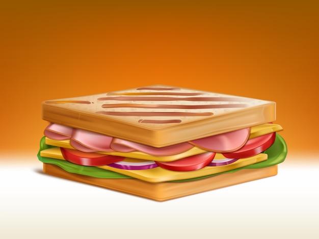 Grande doppio panino con due pezzi di pane di grano tostato, fette di prosciutto e pezzi di formaggio cheddar, fette di pomodoro e cipolla e insalata fresca foglie 3d vettoriale realistico. illustrazione della prima colazione nutriente