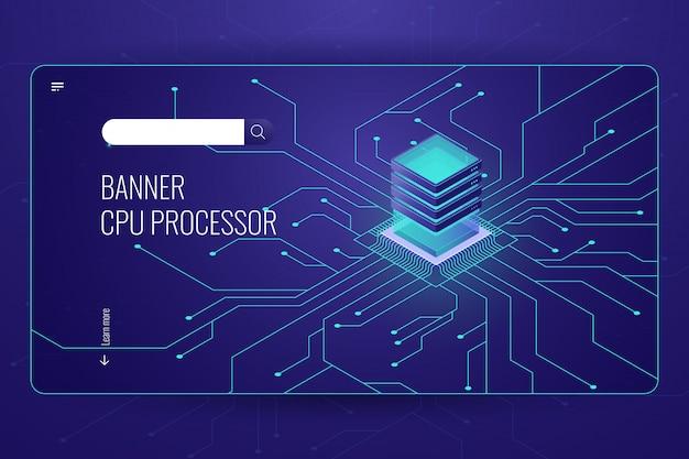 Grande elaborazione dati, banner isometrico processore cpu, trasferimento dati di rete e calcolo
