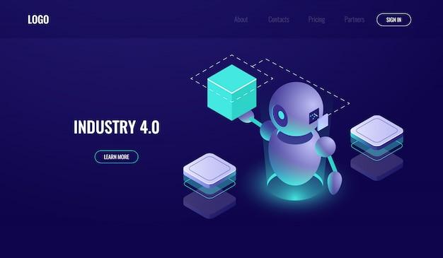 Grande elaborazione dei dati, industria 4.0, processo di automatizzazione, intelligenza artificiale ai