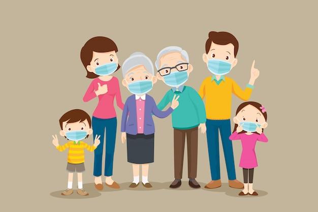 Grande famiglia che indossa una maschera chirurgica per prevenire i virus