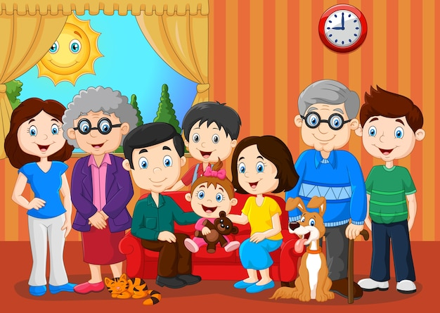 Grande famiglia con i nonni