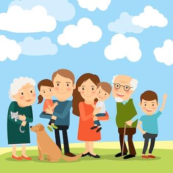 Grande famiglia e cielo con nuvole