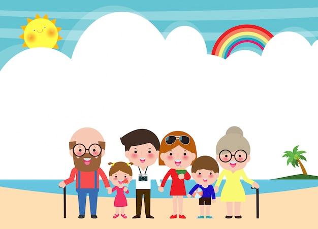 Grande famiglia felice alla spiaggia famiglia sulle vacanze estive che vanno alla spiaggia e che hanno il mare. illustrazione isolata personaggi dei cartoni animati dei bambini e dei genitori su estate.