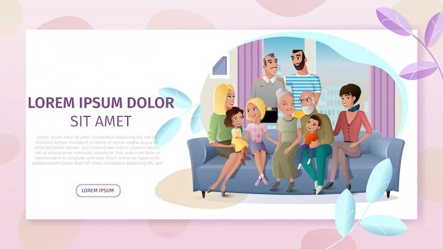 Grande famiglia felice che si incontra a casa vector web banner