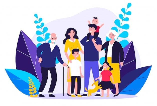 Grande famiglia felice che sta insieme illustrazione