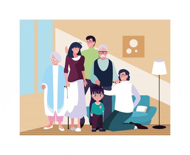 Grande famiglia insieme in salotto, tre generazioni
