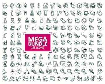 Grande fascio, insieme di illustrazioni vettoriali icone di linea fine. 32x32 pixel perfetti