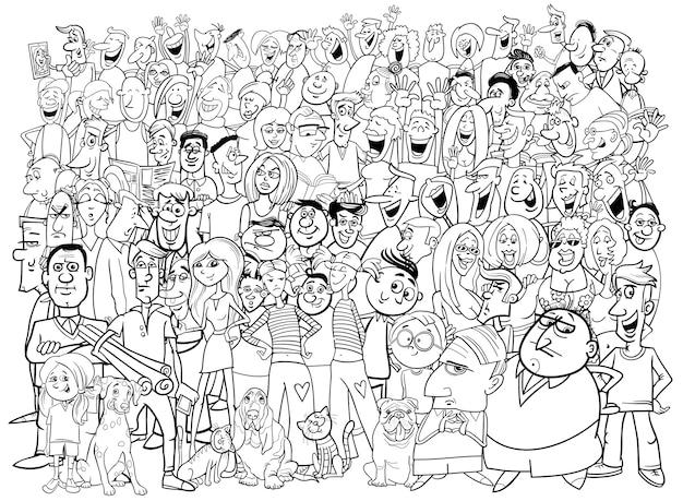 Grande gruppo di persone in bianco e nero
