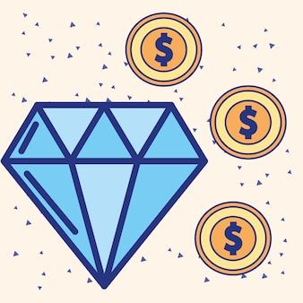 Grande immagine di monete di diamanti e monete del dollaro