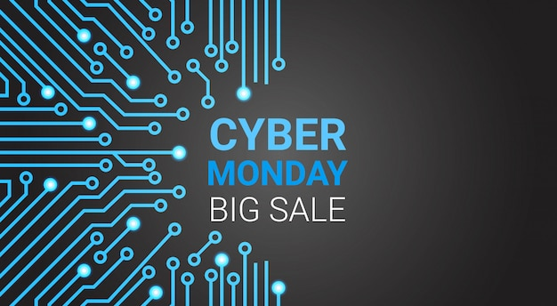Grande insegna di vendita di cyber monday sopra il circuito, sconto speciale per il concetto di acquisto di tecnologia