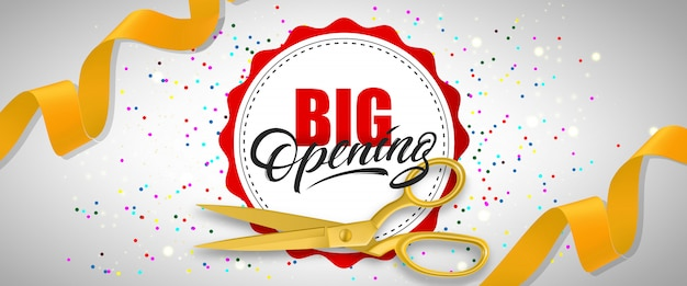 Grande insegna festiva di apertura con confetti, forbici d'oro, nastri gialli