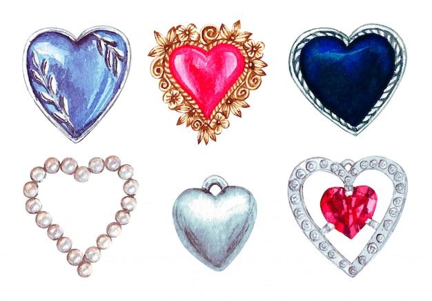 Grande insieme dell'acquerello dei gioielli d'annata di giorno di biglietti di s. valentino, perle, isolato su bianco.