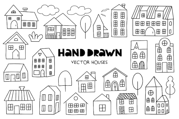 Grande insieme delle case disegnate a mano su bianco.
