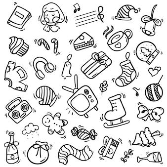 Grande insieme di elementi di capodanno con stile doodle