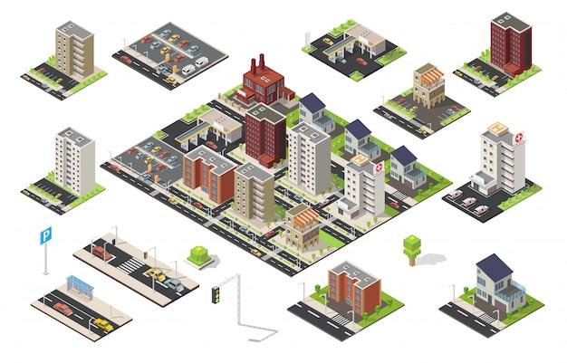Grande insieme isometrico di elementi di poli basso di vettore di paesaggio urbano della città