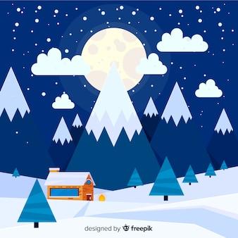 Grande luna inverno paesaggio sullo sfondo