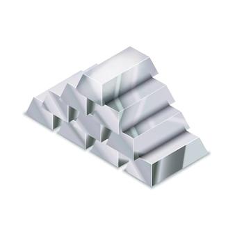 Grande mucchio di barre d'argento lucide realistiche nella vista isometrica su bianco