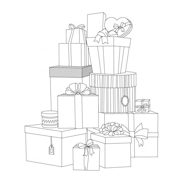 Grande mucchio di scatole regalo colorate avvolte. bella scatola pacco regalo. illustrazione di presente vettoriale isolato. libro da colorare per adulti