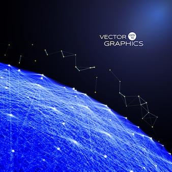 Grande oggetto astratto nello spazio con flusso via alle particelle di luce. illustrazione vettoriale di concept design.