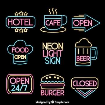 Grande pacchetto di otto segnali luci al neon