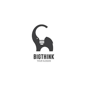Grande pensare elefante e logo lampadina