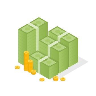 Grande pila accatastata di contanti e alcune monete d'oro. illustrazione stile piatto