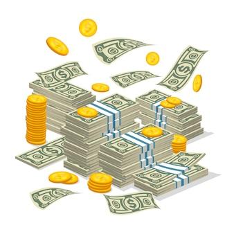 Grande pila di soldi in stile cartone animato