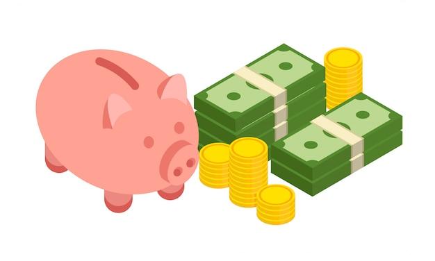 Grande pila impilata di dollari in contanti, monete d'oro e salvadanaio in uno stile isometrico alla moda. illustrazione isolato su sfondo bianco.