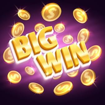 Grande premio in denaro vincente. vincere il gioco d'azzardo con monete d'oro del dollaro. valuta, premio e successo del dollaro dei soldi, ilustration di posta delle monete