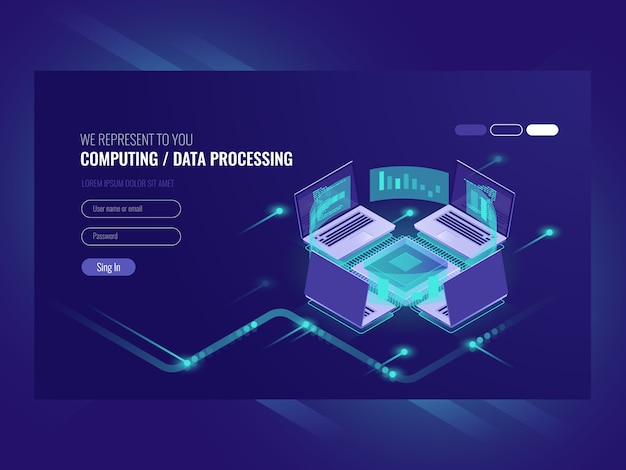 Grande processo di elaborazione e calcolo dei dati, sala server, sala server di hosting web vps