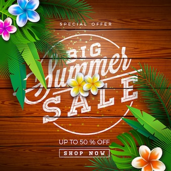 Grande progettazione di vendita di estate con le foglie di palma esotiche e la lettera di tipografia su fondo di legno d'annata. illustrazione di offerta speciale tropicale